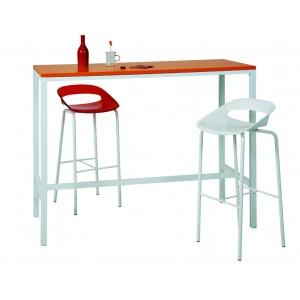 table haute etroite 4 pieds 120 140 160xh110 plateau stratifie pieds metal