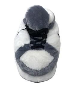 chausson sneakers gris blanc fourrure