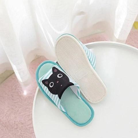 pantoufle chat noir semelle
