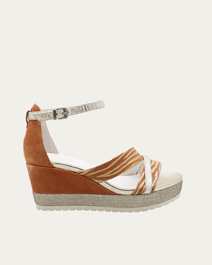 Sandale à talon compensé Dinard Camel