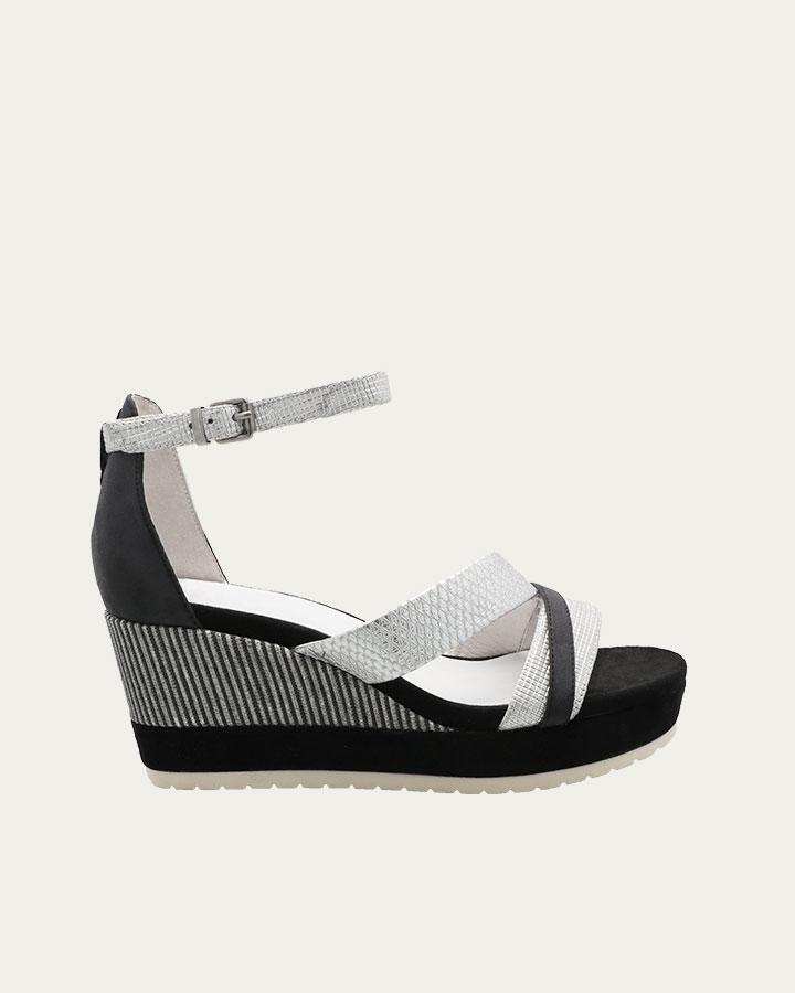 Sandale à talon compensé Dinard noire et argentée
