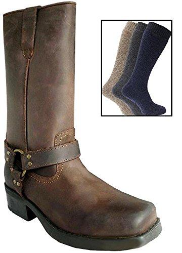 bottes en cuir pour homme longueur mi mollet style terminator motard cowboy avec chaussettes. Black Bedroom Furniture Sets. Home Design Ideas