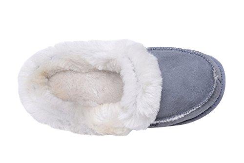 chaude peau de mouton et de la laine naturelle pantoufles chaussons semelle souple mule pour. Black Bedroom Furniture Sets. Home Design Ideas