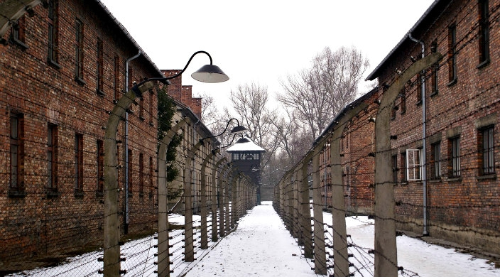 Barracks at Auschwitz Birkenau in the snow