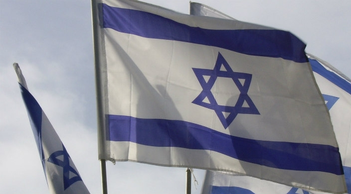 Four Israeli flags