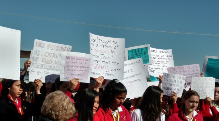 Students and others at a rally protesting a detention center in Tornillo, TX