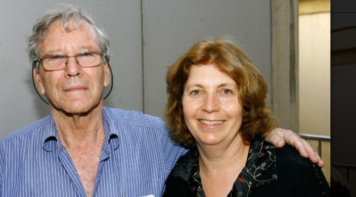 Author Amos Oz with Israeli activist Anat Hoffman