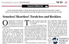 "HISTORIC: Satmar Paper ""Der Yid"" Publishes Editorial in ENGLISH Blasting Anti-Vaxxers"