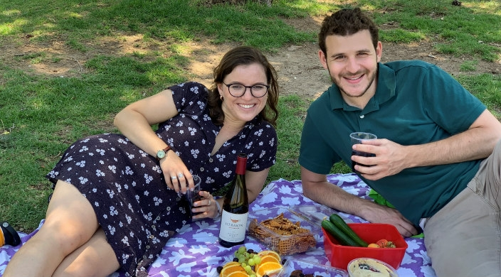 The author and a friend in a Jerusalem park on Shabbat