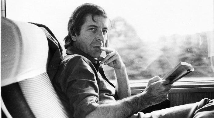 Black and white photo of Leonard Cohen