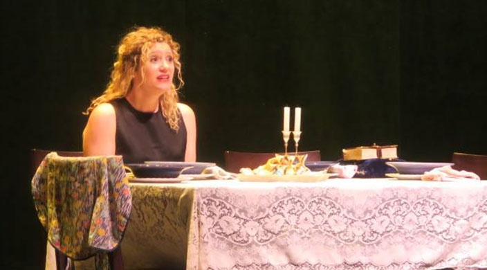 """The author in a scene from her one-woman show, """"Bubby's Kitchen"""""""