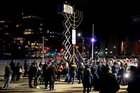 The amazing menorah lighting with Chabad of Park Slope in the Grand Army Plaza. It's the biggest menorah in Brooklyn!!