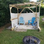 First sukkah, not entirely sure it's kosher but it provides a place to dwell in out of the sun and makes being away from family because of COVID just a bit more bearable.