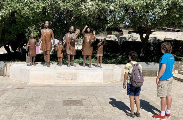 Jerusalem has a new monument to honour the 850,000 Jews who fled, were expelled, or left under duress from Arab countries and Iran. It's based on the iconic image of Yemenite Jews walking through the desert.