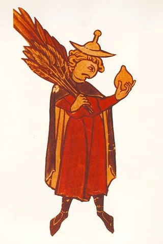 Illustration of a typical German-Jewish man's clothing, from a medieval Hebrew calendar
