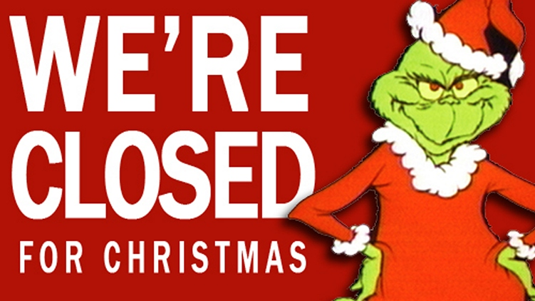 Christmas closed sign with the Grinch