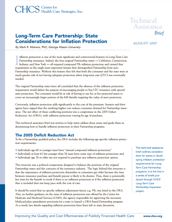 Long-Term Care Partnership: State Considerations for ...