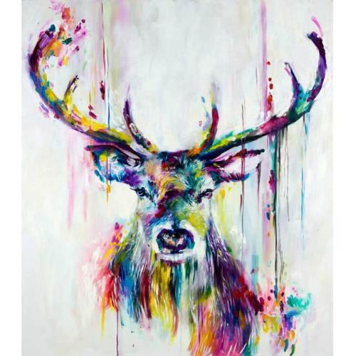 Maleri kronhjort i farver