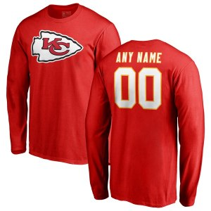 Men's Kansas City Chiefs NFL Pro Line Red Any Name & Number Logo Personalized Long Sleeve T-Shirt