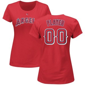 Women's Los Angeles Angels Majestic Red Custom Roster Name & Number T-Shirt