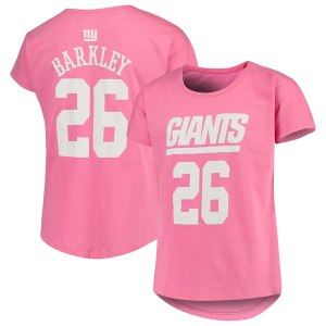 Girls Youth New York Giants Saquon Barkley Pink Dolman Mainliner Name & Number T-Shirt