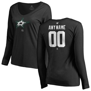 Women's Dallas Stars Fanatics Branded Black Personalized Team Authentic Long Sleeve V-Neck T-Shirt