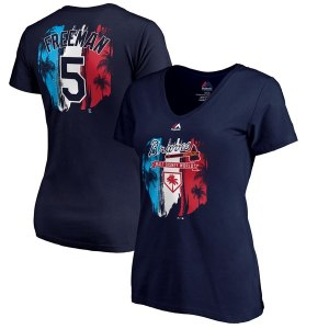 Women's Atlanta Braves Freddie Freeman Majestic Navy 2019 Spring Training Name & Number V-Neck T-Shirt