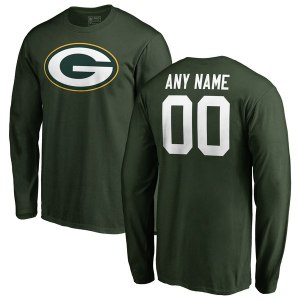 Men's Green Bay Packers NFL Pro Line Green Any Name & Number Logo Personalized Long Sleeve T-Shirt