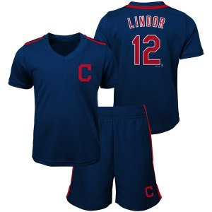 Preschool & Toddler Cleveland Indians Francisco Lindor Majestic Navy Ballpark Champ Name & Number V-Neck T-Shirt & Shorts Set