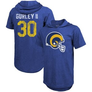 Men's Los Angeles Rams Todd Gurley II Majestic Threads Royal Tri-Blend Hooded Name & Number T-Shirt