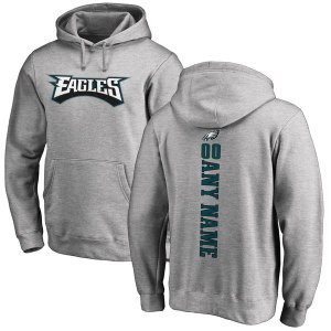 Men's Philadelphia Eagles NFL Pro Line Ash Personalized Backer Pullover Hoodie