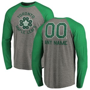 Men's Toronto Maple Leafs Fanatics Branded Heathered Gray Personalized St. Patrick's Day Luck Tradition Long Sleeve Tri-Blend Raglan T-Shirt