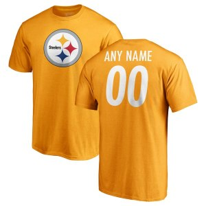 Men's Pittsburgh Steelers NFL Pro Line Gold Personalized Name & Number Logo T-Shirt