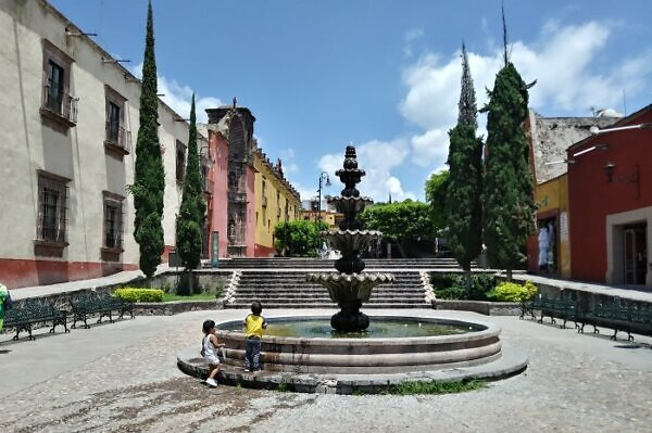 San Miguel Allende plaza with fountain