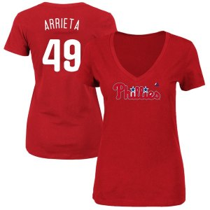 Women's Philadelphia Phillies Jake Arrieta Majestic Red Name & Number V-Neck T-Shirt