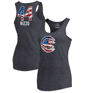Women's Chicago Cubs Anthony Rizzo Fanatics Branded Navy Banner Wave Name & Number Tri-Blend Tank Top
