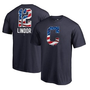 Men's Cleveland Indians Francisco Lindor Fanatics Branded Navy 2019 Memorial Day Banner Wave Player T-Shirt
