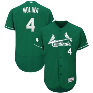 Men's St. Louis Cardinals Yadier Molina Majestic Green St. Patrick's Day Flex Base Authentic Collection Celtic Player Jersey