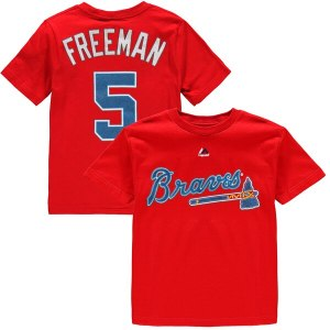 Youth Atlanta Braves Freddie Freeman Majestic Red  cheap Mets jerseys