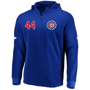 Men's Chicago Cubs Anthony Rizzo Majestic Royal Authentic Collection Batting Practice Waffle Quarter-Zip Hoodie