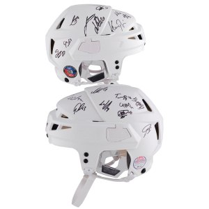 Autographed Washington Capitals 2018 Stanley Cup Champions Autographed Alex Ovechkin White Game Model CCM Helmet with 24 Signatures - Limited Edition of 12