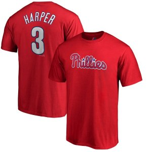 Men's Philadelphia Phillies Bryce Harper Majestic Red Big & Tall Name & Number T-Shirt