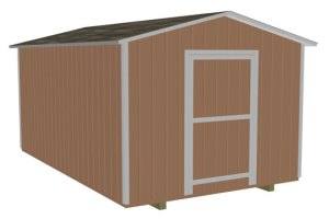 10x16 with 5 1/2 in overhang, 7ft sidewalls and single end door