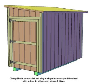 4x8x6 tall with door on each end stores 2 bikes