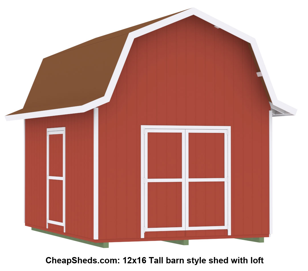 Tall gambrel barn style sheds for Shed designs with loft