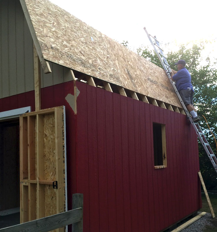 12 16 tall barn style gambrel roof shed plans for Prefab gambrel roof trusses