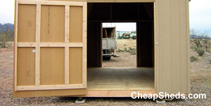 A drive through motorcycle shed