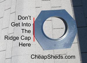 shed ridg cap vent placement