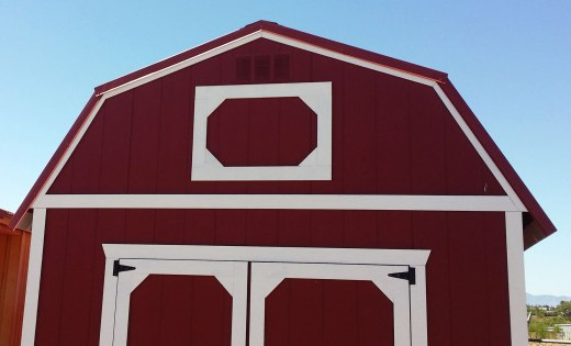 Barn style gambrel end trim detail
