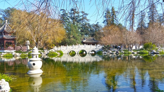 Chinese Gardens at the Huntington Gardens. Photo shows a stone bridge reflected in a pond.